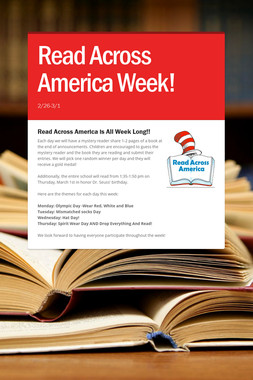 Read Across America Week!