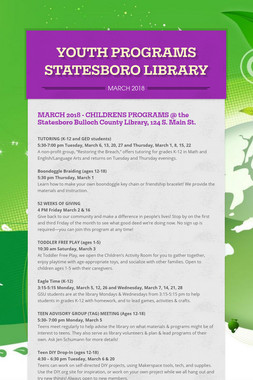 YOUTH PROGRAMS STATESBORO LIBRARY