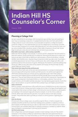 Indian Hill HS Counselor's Corner