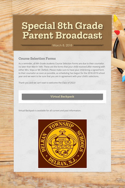 Special 8th Grade Parent Broadcast