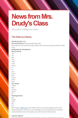 News from Mrs. Drudy's Class