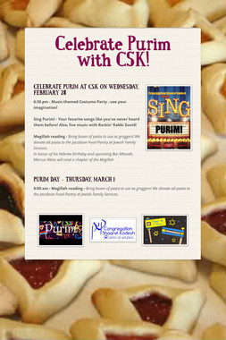 Celebrate Purim with CSK!