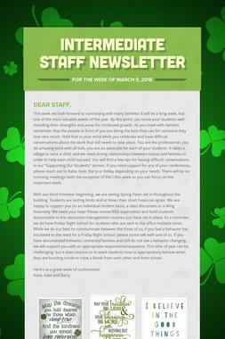 Intermediate Staff Newsletter