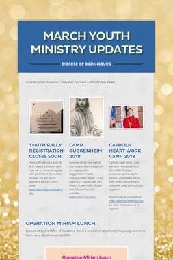 March Youth Ministry Updates