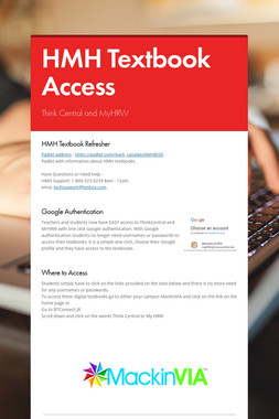 HMH Textbook Access