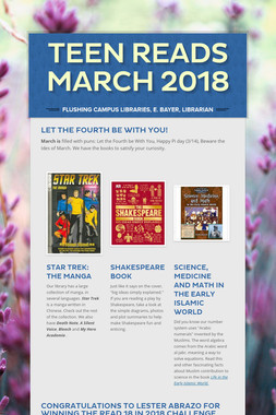 Teen Reads March  2018