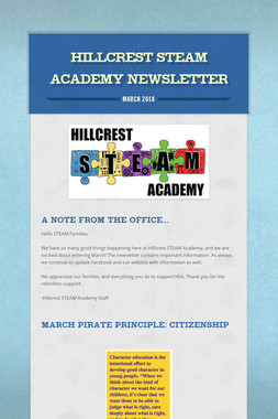 Hillcrest STEAM Academy Newsletter