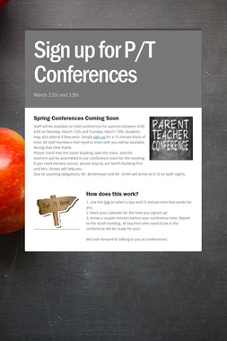 Sign up for P/T Conferences