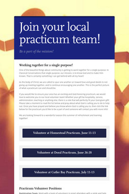 Join your local practicum team!