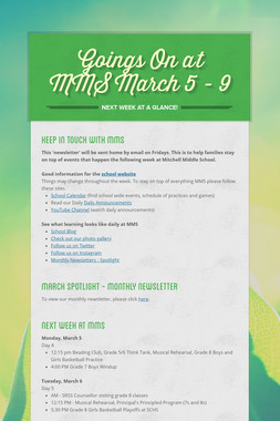 Goings On at MMS March 5 - 9