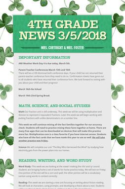 4th Grade News 3/5/2018