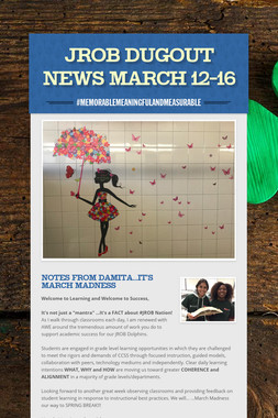 JROB Dugout News  March 12-16