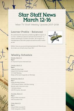 Star Staff News   March 12-16