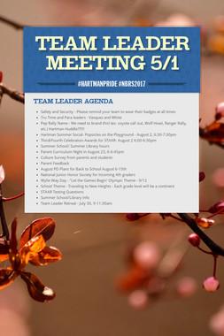 Team Leader Meeting 5/1