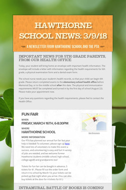 Hawthorne School News: 3/9/18