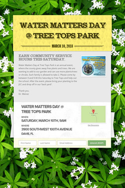 Water Matters Day @ Tree Tops Park