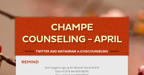 Champe Counseling - APRIL | Smore Newsletters for Education