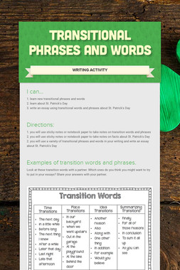 Transitional Phrases and Words