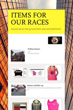 ITEMS FOR OUR RACES