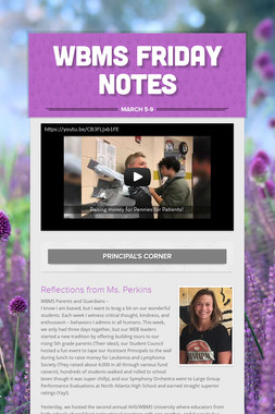 WBMS Friday Notes
