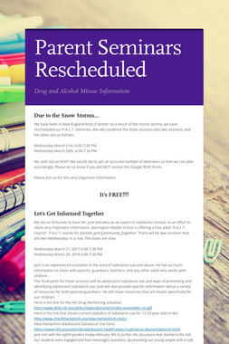 Parent Seminars Rescheduled