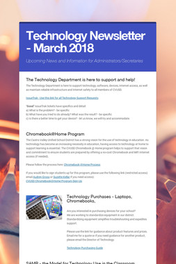 Technology Newsletter - March 2018
