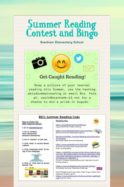 Summer Reading Contest and Bingo