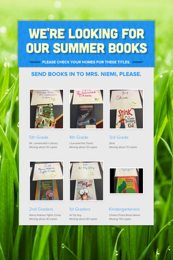 We're Looking For Our Summer Books