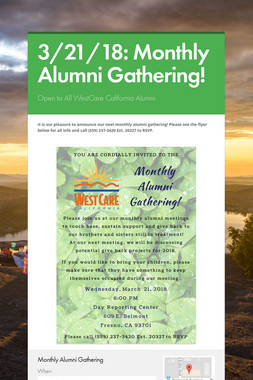 3/21/18: Monthly Alumni Gathering!