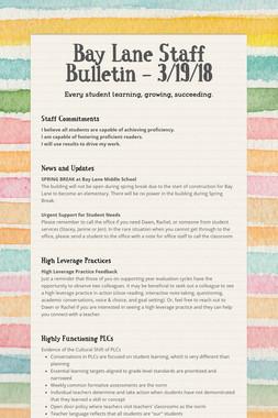 Bay Lane Staff Bulletin - 3/19/18