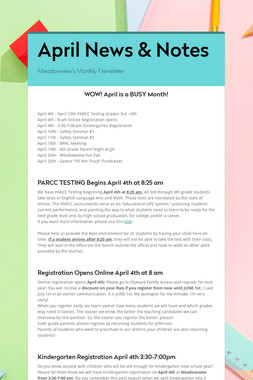 April News & Notes