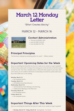 March 12 Monday Letter