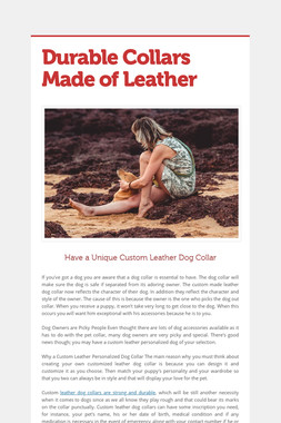 Durable Collars Made of Leather