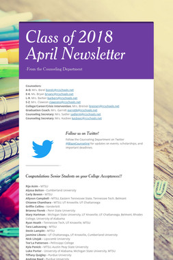 Class of 2018 April Newsletter