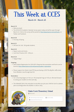 This Week at CCES