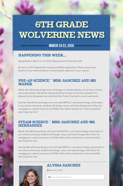 6th Grade            Wolverine News