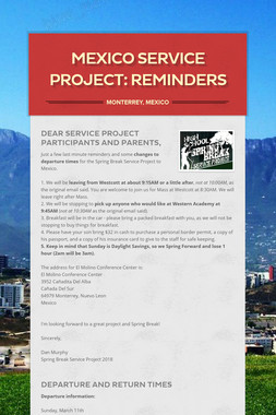 Mexico Service Project: Reminders