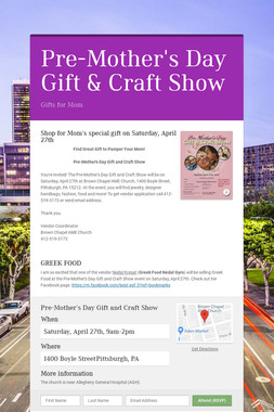 Pre-Mother's Day Gift & Craft Show