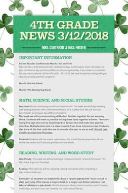 4th Grade News 3/12/2018