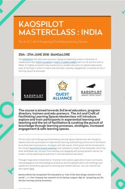 KAOSPILOT MASTERCLASS :  INDIA