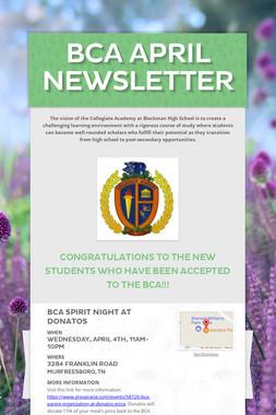 BCA April Newsletter