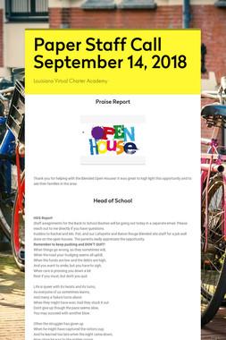Paper Staff Call September 14, 2018