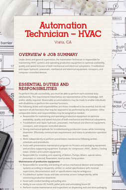 Automation Technician – HVAC