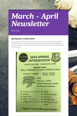 March - April Newsletter