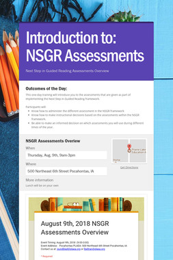 Introduction to:  NSGR Assessments