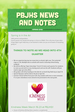 PBJHS News and Notes