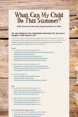 What Can My Child Do This Summer?