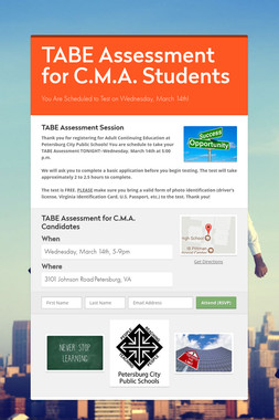 TABE Assessment for C.M.A. Students