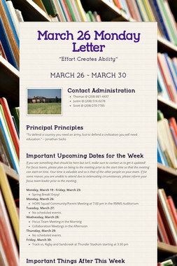March 26 Monday Letter