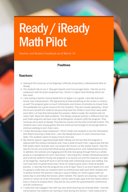 Ready / iReady Math Pilot